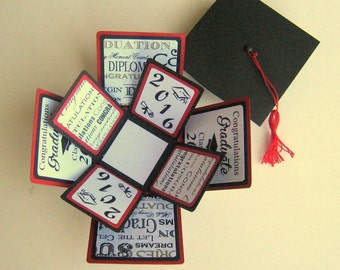 CUSTOM SMALL Graduation Card Exploding Box Your Choice of Colors and Design