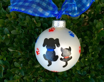 Dog and Cat Ornament - Hand Painted Personalized Christmas Ornament - Dog Lover Gift, Cat Lover Ornament, Paw Prints, Pet Gift
