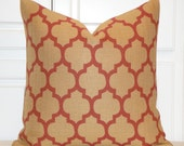 Rust And Tan Quatrefoil Pillow Cover  - Moroccan Pillow Cover - Geometric - Sofa Pillow - Cushion  - Square and Lumbar Pillow Cover