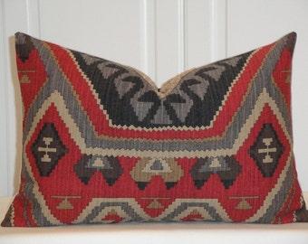 Decorative Pillow Cover - 12 x 18 - Southwest IKAT - Throw Pillow - Accent Pillow - Taupe - Gray - Steel Blue - Khaki - Paprika