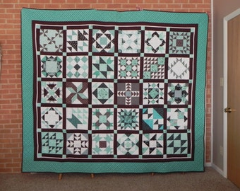 Turquoise and Brown Sampler Quilt  - QUEEN Size Quilt