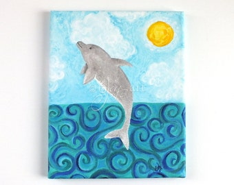 Dolphin Jump #2 original acrylic painting, 8x10 canvas art, whimsical art for home or office, beach art