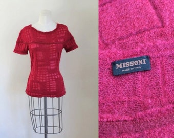 vintage 1990s Missoni sweater - CRANBERRY mohair pullover / S