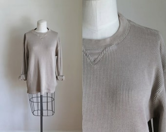 vintage thermal shirt - PUTTY waffle knit tee / M-L