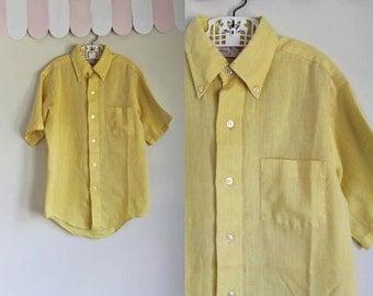 vintage 1960s boy's shirt - PINEAPPLE yellow button down / 12/14yr