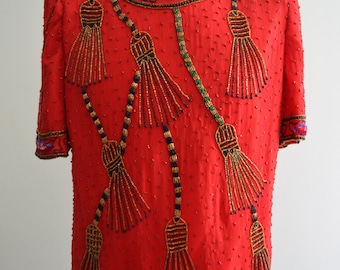 Vintage LAURENCE KAZAR  Sequined Evening Tassel Red Top Blouse Size XL Gold Red Black