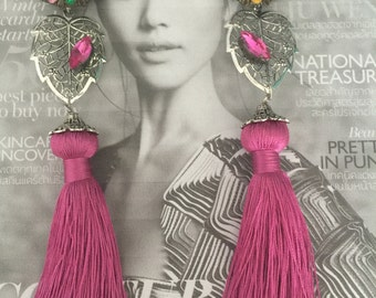 COLORFUL GARDEN Vintage CORO Multi Gemstones Clip On with Pink Tassel Earrings