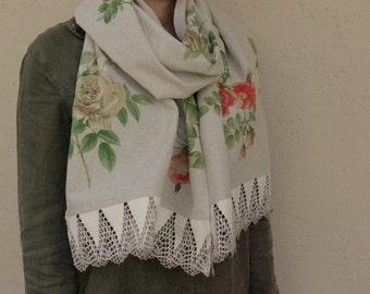 Rose linen scarf with lace, long designer's shawl in pastel colors, feminine  fall gift for mom