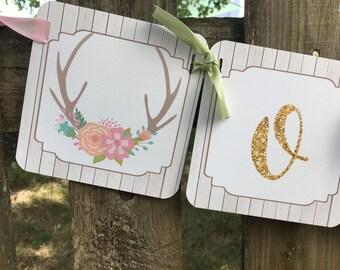 Deer baby shower banner, oh deer banner, baby girl banner, baby shower banner, baby shower decoration, deer, woodland baby shower banner