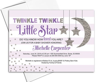 Purple baby shower invitations for girls | twinkle twinkle little star invitation | moon stars stripes | printable or printed - WLP00710
