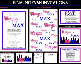 Blue and Pink Step and Repeat B'Nai Mitzvah Invitations - RSVP Reply Card - Thank You Note Cards - Guest & Return Addressing - Party Logo