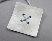 Biggest Square Button w/large holes silvertone metal 1.5 inch artisan handmade