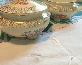 Vintage Cream and Sugar Set Newell Floral Gold Filigree Nautilus Homer Laughlin Made in The USA #3988