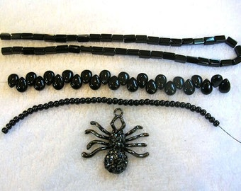 Destash Charm and Beads - Jeweled Spider Charm with Assorted Black Beads - DIY Craft Supplies