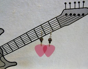 Pink Guitar Pick Earrings With Accent Beads