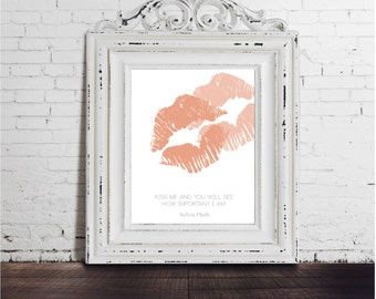 Sale! Sylvia Plath, Digital Download, art print, quote. kiss, pink, the bell jar, kiss me, important, typography lips pink white text novel