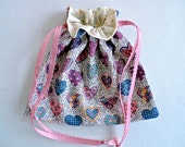 Valentine Fabric Lined Gift Bag with Drawstrings - Pink, Purple and Blue Hearts - Recyclable, Reusable, Eco-Friendly