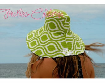 Lime Green Sun Hat With Cream Under the brim Summer Hat by Freckles California