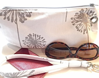 Clutch, Wristlet, Poppy Flower Print in Gray and White, Detachable Strap