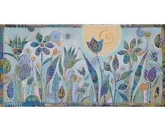 Painting on Canvas, 8x16 Original Art , Floral Fantasy,home decor