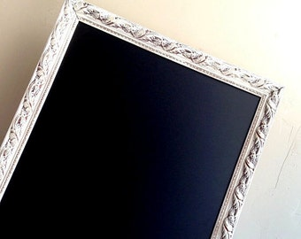 WHITE CHALKBOARD Large MAGNETIC Chalkboard Kitchen Wall Organizer Kitchen Chalkboard Framed Chalkboard Message Center Framed Blackboard