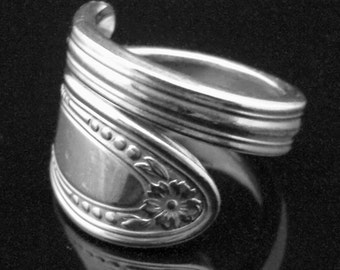 Floral Spoon Ring, Diamond Silverplate, Antique Silverware Jewlery