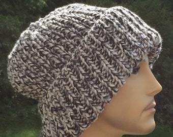Knit chunky hat / Mens beanie hat with brim /  Beanie with brim / Mens winter hat / Gray men's hat / knit slouchy hat