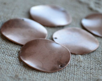 10pcs Coin Charms Drops Antiqued Copper Plated 26mm Flat Round Stamping