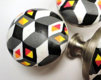 Cabinet Knobs Unique Handmade Polymer Clay Metal decorative knobs 8 Red Orange Black Gray bathroom cabinets dresser drawer knobs