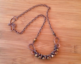 Picture Jasper Necklace /Wire wrapped Copper /Feng Shui Jewelry /Root Chakra /Reiki Energy