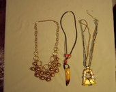 Vintage 1980s Lot 3 Necklaces Horn Amber & Wrapped Bead Pendants Brass Bead Bib 8242