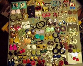 Vintage 1980s Lot 75 Pairs Pierced Earrings 4 Pairs Screw Back & 8 Pairs Clip Earrings 8668
