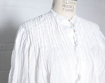Antique Edwardian Blouse Bodice in White Pink Dot Cotton with Delicate Pintucks