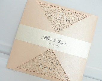 Laser Cut Wedding Invitation, Blush Wedding Invite, Lace Wedding Invite, Floral Invitation, Bohemian Wedding Invitation, FOLDER-CORAL BLUSH