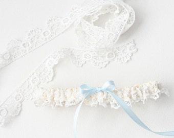 Lace Garter, Lace Wedding Garter, Lace Bridal Garter, Blue Garter, Blue Wedding Garter, Something Blue - Fancy Garter by The Garter Girl