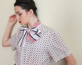 RESERVED Vintage 1970s Pussycat Bow Blouse Red White Blue Graphic Print Alfred Dunner /