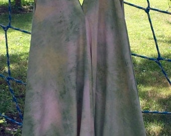 Hand dyed raw slubby silk knee-length handkerchief hem flirty dress