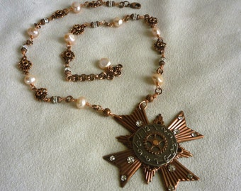 Maltese Cross Copper and Gunmetal Steampunk Pendant Necklace