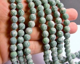 Green spot Jasper matte - 8 mm - round bead -  48 beads - matte-  full strand - RFG535