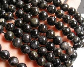 Arfvedsonite - 10mm round - A quality - 39 beads per strand -  1 full strand - very  rare - RFG63