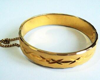 1970s Gold Hinged Bangle... Bright Cut... Mid Century Modernist