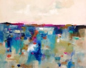 Large Abstract Cityscape / Landscape  Original Painting -Magenta Horizon 30 x 30