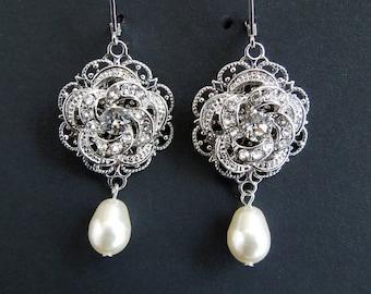 Pearl Crystal Chandelier earrings Bridal earrings Pearl Bridal jewelry Swarovski Earrings Pearl Crystal Drop Bridal Earrings ROSELANI