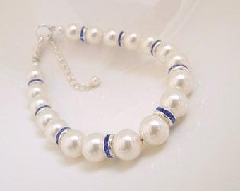 Bridal Bracelet, Something Blue Bracelet, White Swarovski Pearls, Pearl Bridal Bracelet, Bridal  Rhinestone Bracelet, bridal cuff, KRISTEN