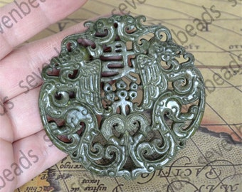 Double Side face carved Green double dragon pendant,Chinese dragon jade pendant Bead Gemstsone,Amulet Talisman jade pendant findings