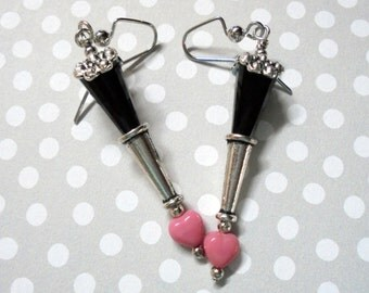 Black and Pink Heart Earrings (2443)