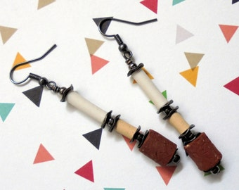 White, Beige and Terra Cotta Earrings (2460)