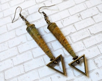 Rustic Dark Olive Green and Mustard Yellow and Brass Earrings (2644)