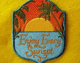 "Enjoy Every Sunset Iron on Patch 3"" x 3.75"""