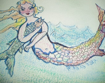 Mermaid Gone Fishing Kate Perrin Unique Art Mixed Media